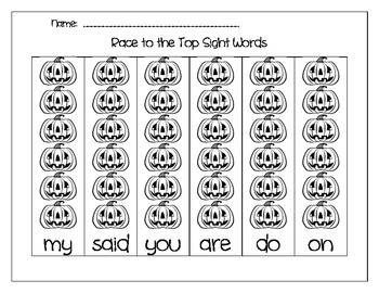 Race to the Top Halloween  Everyday Sight Words for Kindergarten and First Grade
