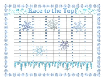 """Race to the Top"" No-Prep Early Multiplication Game - Winter Themed!"