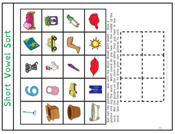 Short Vowel Review Games, 8 Phonics Center Activities