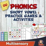 Short Vowel Review Games, 8 Phonics Center Activities