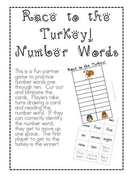 Race to the Turkey!  Number Words