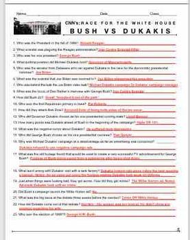 Race to the Whitehouse Bush v. Dukakis Video Guide + Video Web Link + Key