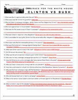 "Race to the Whitehouse ""Clinton v. Bush"" Video Guide + Video Web Link + Key"