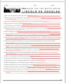 """Race to the Whitehouse """"Lincoln v. Douglas"""" Video Guide + WebLink & Key"""