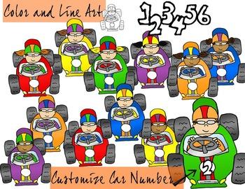 Racecar Kids Clip Art - Color and Line Art 21 pc set
