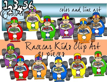 Racecar Kids Clip Art - Color and Line Art 21 pc set
