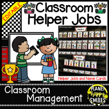 Classroom Helper Jobs (EDITABLE) ~ Racecar Theme