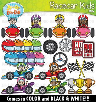 Racecar Kids Clipart Set {Zip-A-Dee-Doo-Dah Designs}