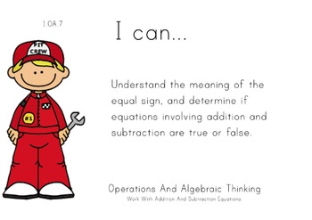 Racecar Kids Theme 1st grade math Common Core Posters first Grade Standards