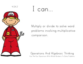 Racecar Kids Theme 4th grade math Common Core Posters fourth Grade Standards