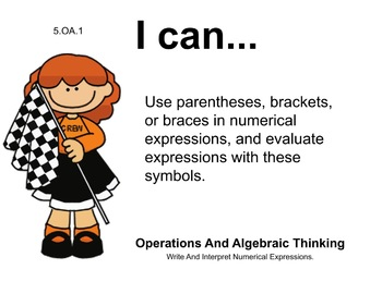 Racecar Kids Theme 5th grade math Common Core Posters Fifth Grade Standards