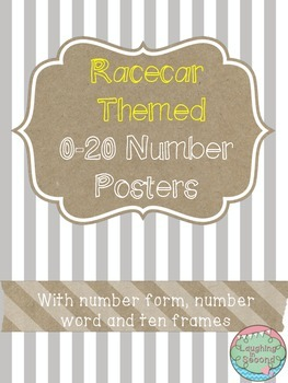Racecar Themed 0-20 Numbers Posters