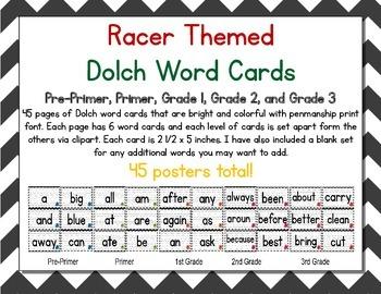 Racer/ Racecar Themed Decor Dolch Word Cards (Pre-Primer-3rd Grade)