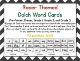 Racer/ Racecar Themed Decor Dolch Word Cards (Pre-Primer-3