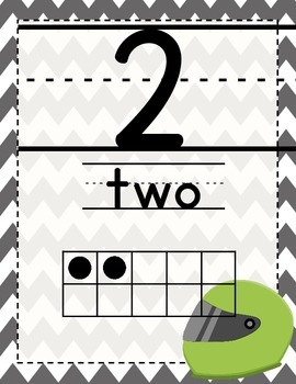 Racer/ Racecar Themed Number Posters 1-20