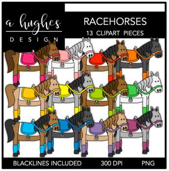 Racehorses Clipart {A Hughes Design}