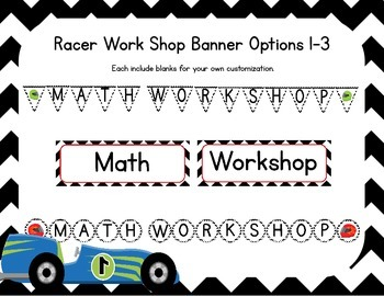 Racer/ Racercar Themed Classroom Small Group Math Center/ Workshop Setup