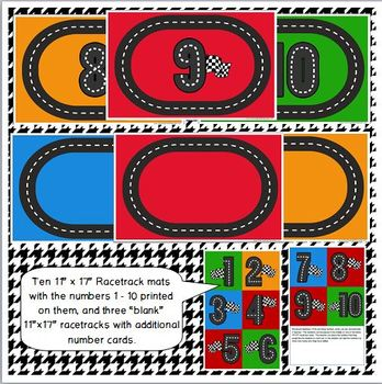 Racetrack Printable Math & Play Dough Mats for Preschool and Kindergarten