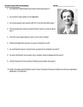 Rachel Carson DDT Environmentalism PBS Doc Questions and Video Link