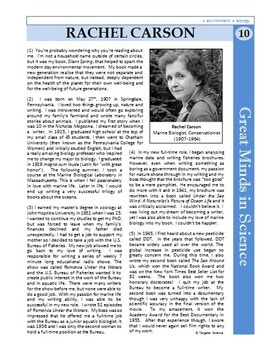 Rachel Carson - Great Minds in Science Article #10 - Science Literacy Sub Plan