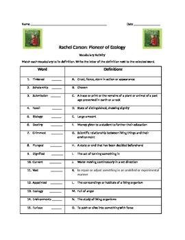 Rachel Carson: Pioneer of Ecology Vocabulary Activity