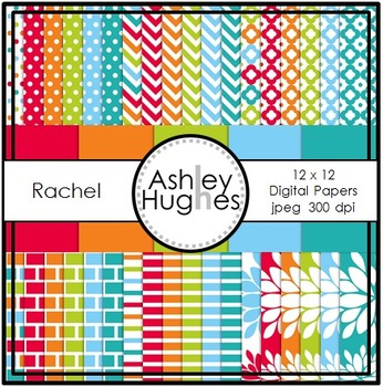 12x12 Digital Papers Set: Rachel Collection {A Hughes Design}