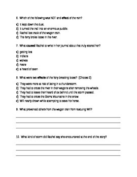 Rachel's Journal Comprehension Questions  Houghton Mifflin Journeys