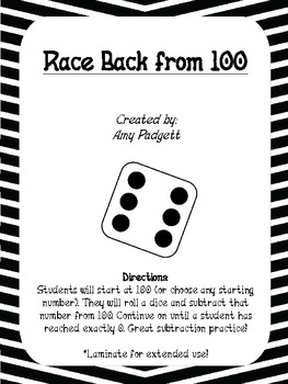 Racing Back from 100: Subtraction Math Practice