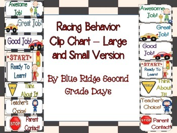 Racing Behavior Clip Charts-2 Different Versions (Large and Small)