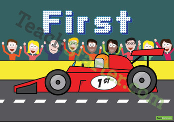 Racing Car Ordinal Numbers 1st - 10th