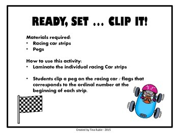 Racing Car Ordinal Numbers - US VERSION