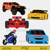 Racing Digital Clip Art - Race Car, Race Truck, Motorcycle