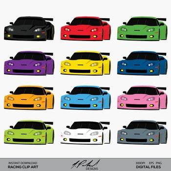 Racing GT Car Clip Art - Le Mans Endurance Racecar Clip Art - Race Car Clip Art