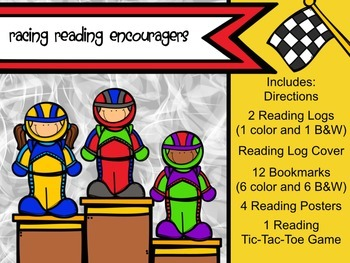 Racing Reading Encouragers- Reading Logs, Bookmarks, Posters