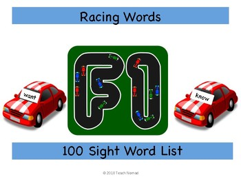 Racing Sight Words Game (100 list)