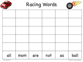 Racing Roll and Record Sight Words Game (50 word list)
