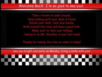 Racing Theme Meet the Teacher Screen