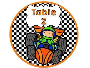 Racing Theme Table Signs