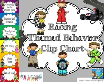Racing Themed Behavior Clip Chart
