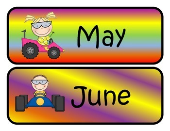 Racing Themed Monthly Calendar Headers