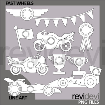 Racing cars and motorcycle clip art - Fast wheels - transportation clipart