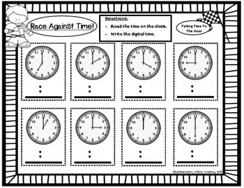 Telling Time to the Hour and Half-Hour: Bundle