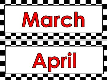 Racing theme Calendar Months and Days