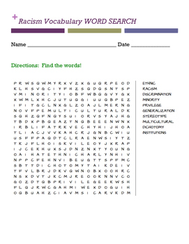 Racism Vocabulary WORD SEARCH