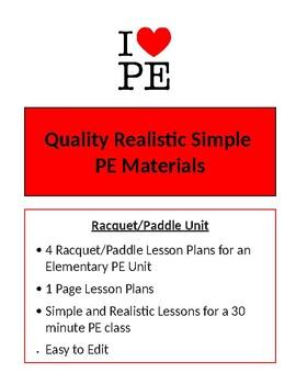 Racquet/Paddle Unit - 4 Lesson Plans - Elementary PE