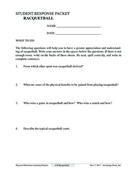 Racquetball: An Academic Learning Packet