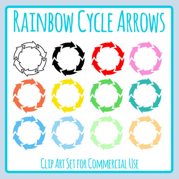 Radial Arrows / Cycle Arrows  Clip Art Set for Commercial Use