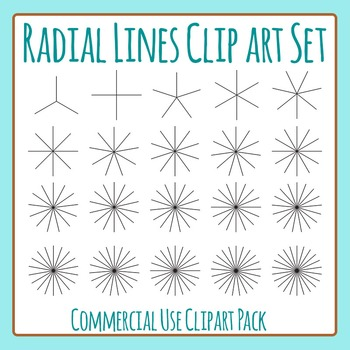 Radial Lines Clip Art Set for Commercial Use