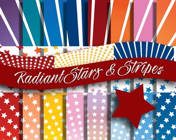 "Radial Stars & Stripes Pattern Sheets, 12 x 12"", 20 Pages,"