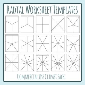 Radial Worksheet Templates Clip Art Set for Commercial Use